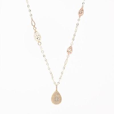 【中古】A品 シェルダイヤ ネックレス K18YG/PG K18イエローゴールドxプラチナ