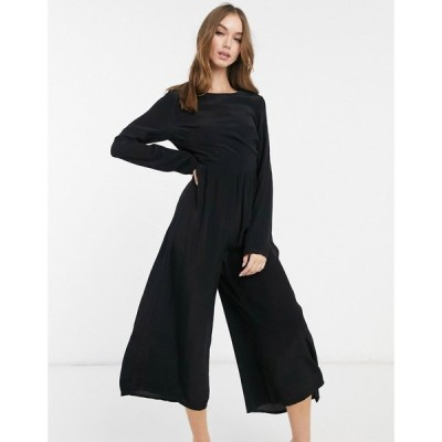 エイソス ASOS DESIGN レディース オールインワン ジャンプスーツ ワンピース・ドレス Long Sleeve Button Back Tea Jumpsuit ブラック