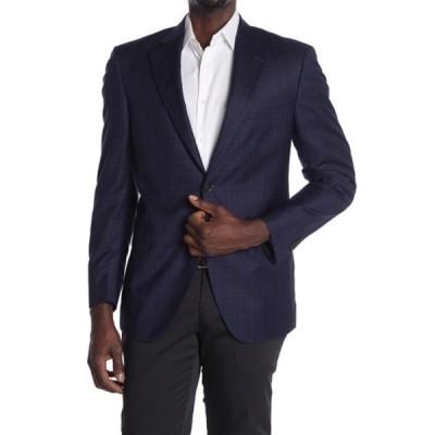 ピーター・ミラー メンズ ジャケット&ブルゾン アウター Flynn Deco Plaid Print Two Button Notch Lapel Wool Suit Separate Sport Coat NAVY