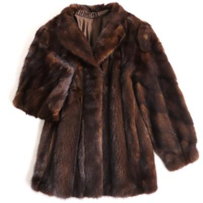 美品▼SAGA MINK サガミンク 裏地花柄刺繍入り 本毛皮コート ダークブラウン 毛質艶やか・柔らか◎