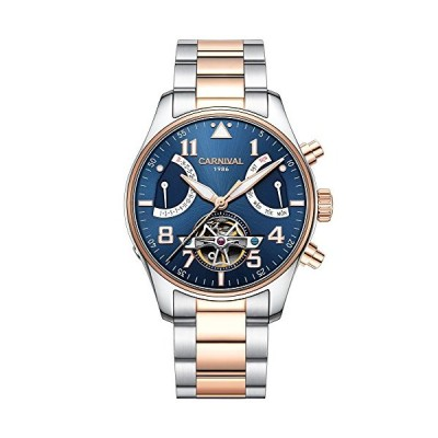 Carnival Men's Automatic Watch Tourbillon Rose Gold Stainless Steel Case Band Waterproof Blue Watches (Rose Gold/Blue) 並行輸入品