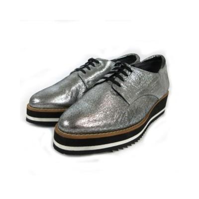 【中古】フェリーチェ FELICE COLLECTION シューズ 靴 厚底 サイドゴア シルバー シルバーメタリック 日本製 23 EEE レディース 【ベクトル 古着】