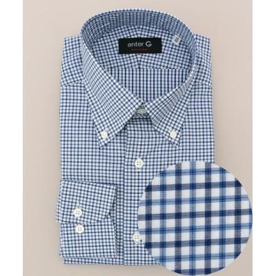 【エンタージー】 バイカラーチェックシャツ メンズ ネイビー系3 42 enter G