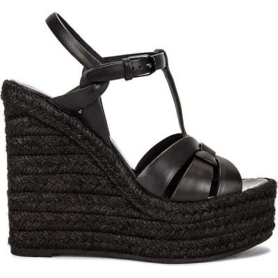 イヴ サンローラン Saint Laurent レディース エスパドリーユ ウェッジソール サンダル・ミュール シューズ・靴 Tribute Espadrille Wedge Sandals Noir