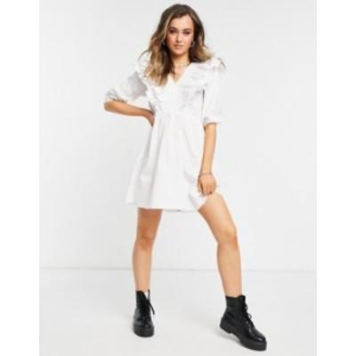 ニュールック レディース ワンピース トップス New Look short sleeve ruffle poplin mini dress in white White