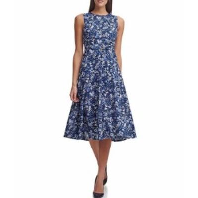 トミー ヒルフィガー レディース ワンピース トップス Sleeveless Cotton Garden Dress Blue Multi