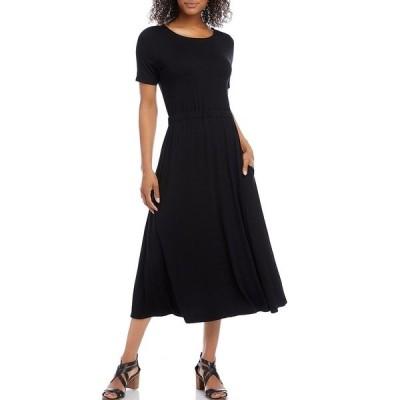 カレンケーン レディース ワンピース トップス Cinched Waist Artisan Midi Dress Black