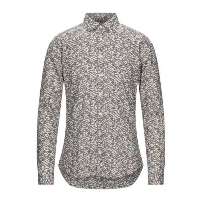 MESSAGERIE 柄入りシャツ  メンズファッション  トップス  シャツ、カジュアルシャツ  長袖 グレー