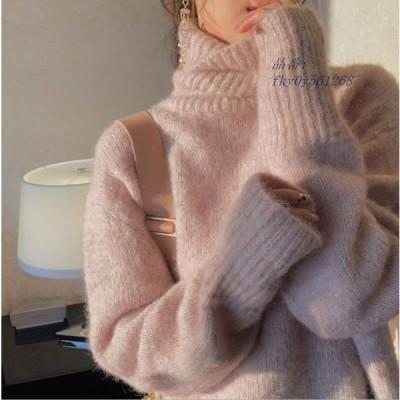 セーター 着痩せ 長袖 ニットセーター カジュアル ファション 無地 レディース タートルネック ニットトップス 2020秋冬新作 トップス