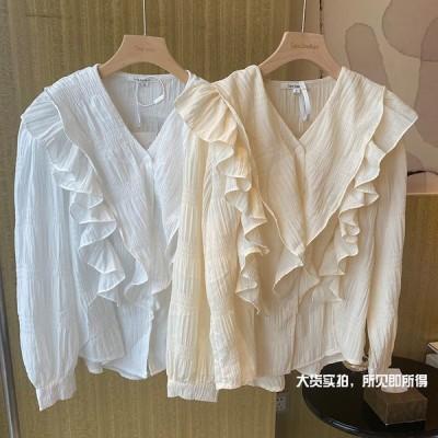 Vネックフリルシャツ ブラウス 春 モテコーデ オフィス 韓国 ファッション送料無料
