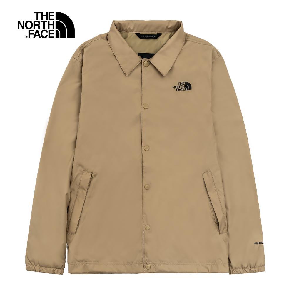 The North Face北面男女款卡其色防潑水襯衫領防風外套 4U8WPLX