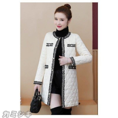 アウター レディース 秋冬 ノーカラー ダウンコート キルティング 長袖 大きいサイズ ロングコート