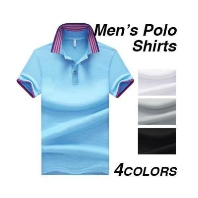 ポロシャツ メンズ 半袖 無地 柄 黒 白 半袖ポロシャツ トップス ゴルフウェア ゴルフ おしゃれ