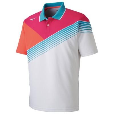 MIZUNO ミズノ ゲームシャツ ラケットスポーツ ユニセックス ホワイト×ピンクグロー テニス バトミントン 62JA8002 76