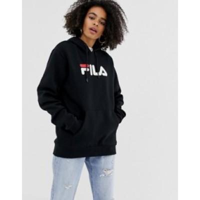 フィラ レディース パーカー・スウェット アウター Fila oversized boyfriend hoodie with front logo Black