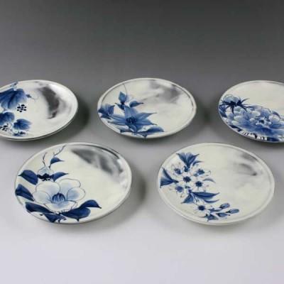 清水焼 京焼 四寸皿揃 染付草花 そめつけそうか 京都の高級 手作り 和食器 プレート さら