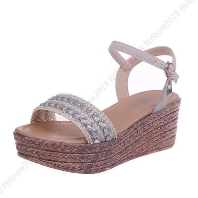 サンダル レディース お洒落 ウェッジヒール ファッション 厚底シューズ 履きやすい  歩きやすい おしゃれ ストラップサンダル 美脚 疲れにくい