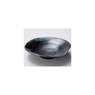 和食器 ア250-177 黒結晶緑流盛皿小