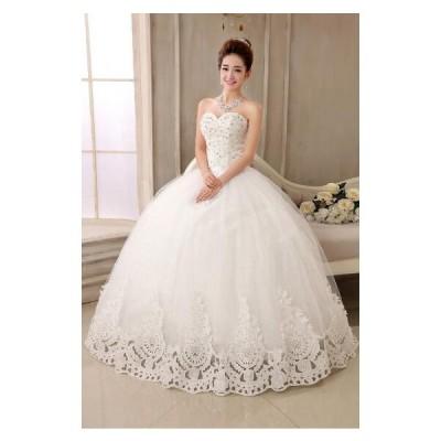 二点送料無料 激安妊娠さんもOKウェディングドレス  豪華な ウェディングドレス☆ロングドレス【結婚式】【二次会】【パーティー】 エンパイアドレス編み上げ