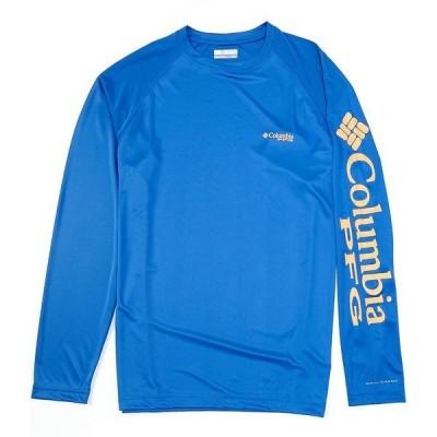 コロンビア メンズ Tシャツ トップス PFG Terminal Tackle Long-Sleeve Rashguard Tee Vivid Blue/Bright Nectar Logo