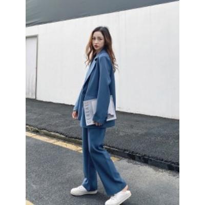 レディース セットアップ 韓国 ファッション パンツスーツ テーラードジャケット ゆったり 2点セット 上下セット 夏 冬 こなれ感 大人 レ
