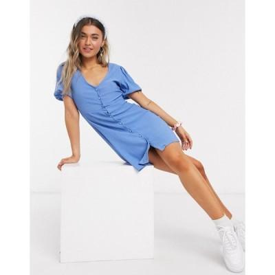 ニュールック ミニドレス レディース New Look crinkle button front mini dress in mid blue エイソス ASOS sale ブルー 青
