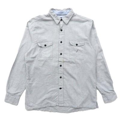ノーティカ NAUTICA ボックスシャツ 長袖 ライトグレー サイズ表記:L