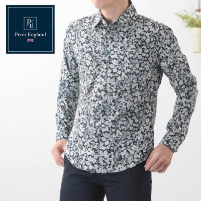 ピーターイングランド 英国老舗ブランド メンズシャツ 日本縫製 花柄 ブラック プレミアムコットン 長袖 UKデザイン ビジネス カジュアル モッズ フォーマル