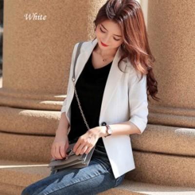 送料無料 ジャケット リネンジャケット 七分袖ジャケット 七分袖 春 夏 ビジネス 通勤 OL 女性