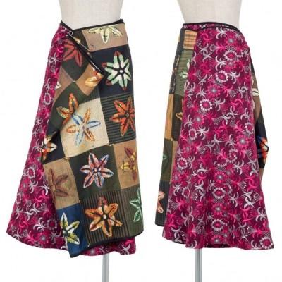 コムデギャルソンCOMME des GARCONS 転写プリント切替刺繍チューブラップスカート マルチM 【レディース】