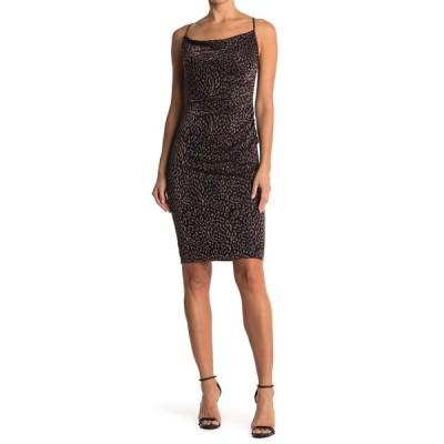 ランドリーバイシェリーシーガル レディース ワンピース トップス Cowl Neck Leopard Print Slip Dress BLACK GOLD