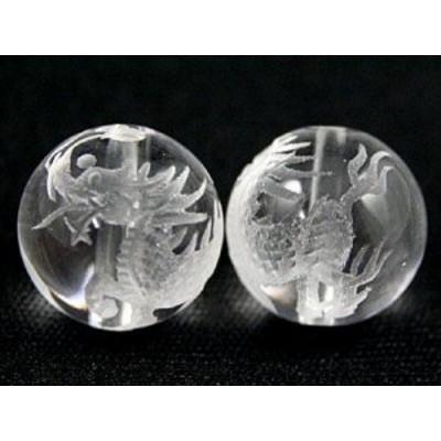 天然石 ビーズ【彫刻ビーズ】水晶 12mm (素彫り) 麒麟(きりん) パワーストーン