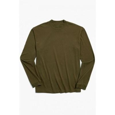 アーバンアウトフィッターズ Urban Outfitters メンズ 長袖Tシャツ トップス UO Recycled Mock Neck Long Sleeve Tee Olive