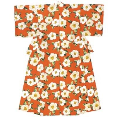 浴衣 レディース オレンジ 橙 ホワイト 白 椿 ツバキ 花 フラワー モダン 変わり織り 夏祭り 花火大会 女性用 仕立て上がり 【Sサイズ】