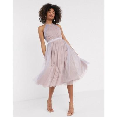 アナヤ Anaya レディース ワンピース ワンピース・ドレス With Love tulle halterneck dress with contrast stripe in multi マルチカラー