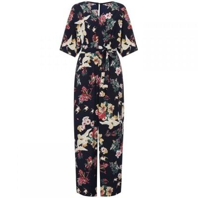 ユミ Yumi Curves レディース オールインワン ジャンプスーツ ワンピース・ドレス Floral Print Wide Leg Jumpsuit Navy