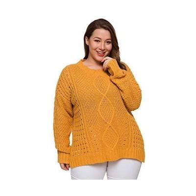 HUILAN Women's Long Sleeve Solid Crop Pullover Jumper Sweater Yellow 4XL並行輸