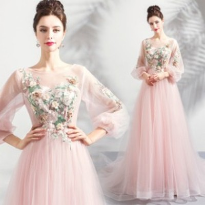 Aライン 大きいサイズ レース マキシ丈 長袖 袖あり 20代 30代 ピンク 透け感 シースルー ラウンドネック  エレガント 上品 結婚式 発表