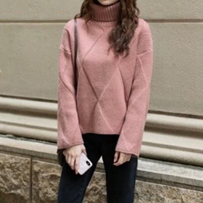 人気 おすすめ ニットセーター タートルネック 長袖 アーガイル かわいい くすみ色 ゆったり デート 通勤 通学 普段着 レディース
