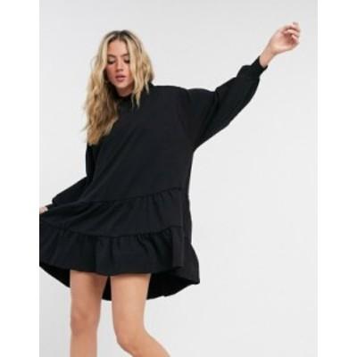 エイソス レディース ワンピース トップス ASOS DESIGN tiered hoodie sweatshirt dress in black Black