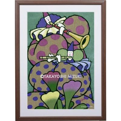 ◎FlowerConcert (花のコンサート)・水氣隆義-作・A3ノビ (32.0×45.7cm)・額:HAKUBI・マット付き・画材用紙・ジクレー版画