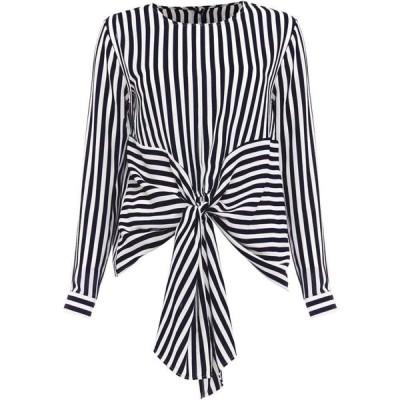 ダンセル Damsel in a Dress レディース ブラウス・シャツ トップス Greta Stripe Tie Waist Blouse Navy
