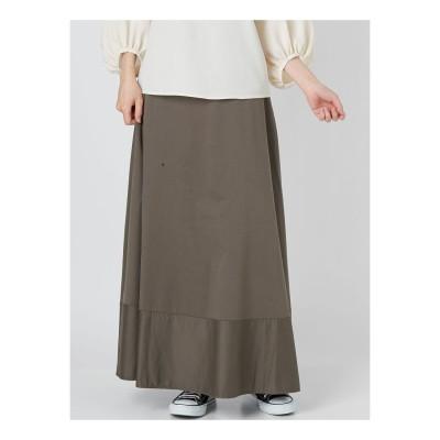 COTORICA. 【WOMEN】リヨセル混ミリタリーロングスカート(カーキ)