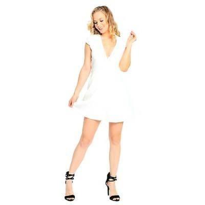 サラブー ドレス Sara Boo Women's White Solid Floral Pattern V-Neck Dress
