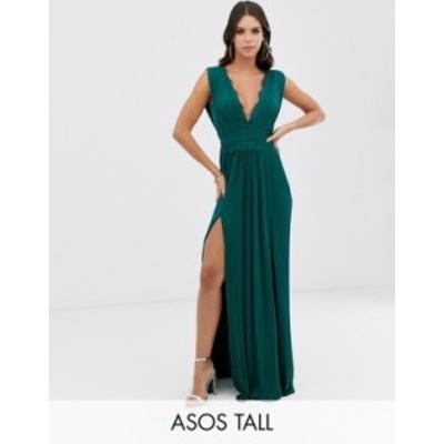 エイソス レディース ワンピース トップス ASOS DESIGN Tall Premium Lace Insert Pleated Maxi Dress Forest green