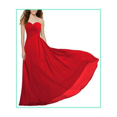 ANTS Women's Strapless Long Bridesmaid Dresses Chiffon Wedding Prom Gown Size 24W US Red並行輸入品
