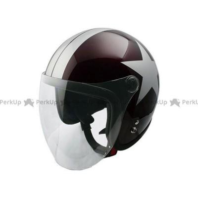 SPEEDPIT ジェットヘルメット JL-65SRスモールJETシールドツキ(レッドB/シルバー/スター) 送料無料 スピードピット