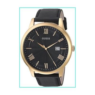【新品】GUESS  Oversized Classic Black Genuine Leather Watch with Date. Color: Black/Gold-Tone (Model: U0972G2)(並行輸入品)