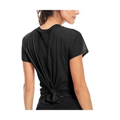 QUEENIEKE レディース スポーツ tシャツ 半袖 速乾 ヨガウエア ランニング トレーニング 8054 (S, ブラック)