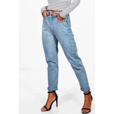 Boohoo レディースパンツ Boohoo Light Wash Rip High Waist Mom Jeans blue